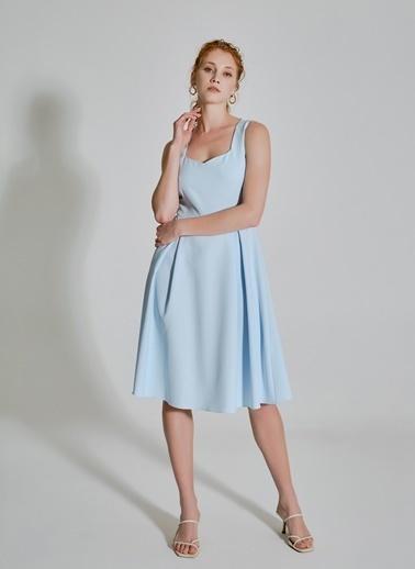 People By Fabrika Pilikaşe Detaylı Elbise Mavi